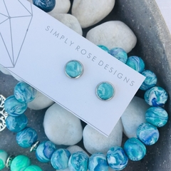 Turquoise Marble Studs