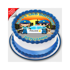 Police Car Edible Icing Image Cake Topper