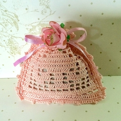 Pink Hand Crocheted Lavender Bag with 'Gilded' Pink Rose
