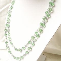 Linked Glass Bead Necklace 80cm Long Mint Green Czech Crystal