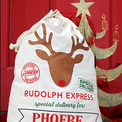 Personalised Santa Sack Drawstring Bag Large 70x50cm - Rudolph Express