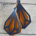 Large Double Layer Navy & Mustard Faux Leather Earrings