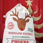 Personalised Santa Sack Drawstring Bag Large 70x50cm - Rudolph Express