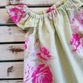 Girls Pink & Green Floral Flutter Sleeve Dress Size 00 & 0