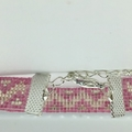 Beaded Bracelet Pink Silver Pattern Boho Pretty