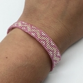 Beaded Bracelet Pink Silver Pattern Boho Pretty