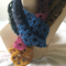 Scarf handmade crochet in a Windowpane pattern