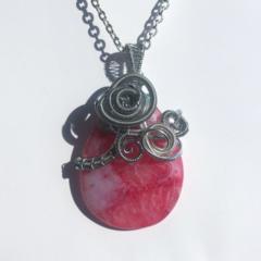 Druse agate necklace, druzy, wire wrap, gemstone, geode