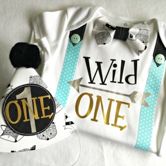 Wild One Tribal Boys Birthday Onesie & Party Hat Boys 1st Birthday