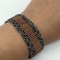 Beaded Bracelet Bronze Purple Turquoise Black Rainbow