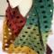 Scarf hand made crochet in a windowpane pattern