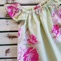 Girls Pink & Green Floral Flutter Sleeve Dress Size 1 & 6