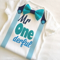 Mr Onederful Boys 1st Birthday Bow Tie Onesie and Party hat