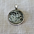 Pendant, necklace,hand painted  round bezel