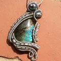 Wire wrapped natural Labradorite Gemstone , Necklace with Unike Pendant