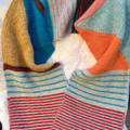 Knitted hand made cotton/silk blend geometric scarf