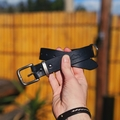 "Navy Blue Leather Dog Collar Full Grain ""Drover's"""