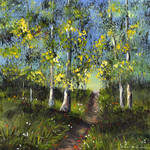 Forest, Trees, Original Acrylic Landscape painting,  flowers, Gift Idea