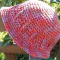 crocheted summer hat with brim. pink and mauve.  Sun hat, beach wear, sun smart