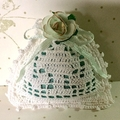 White and Turquoise Hand Crocheted Lavender Bag with 'Gilded' Rose