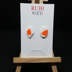 Orange and White Mismatched pair