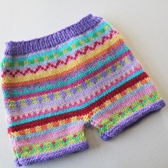 SALE 40% off - Purple  flower pants - size 3 months - hand knitted