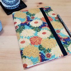 Gold Floral A5 Fabric Journal Cover with Elastic Closure