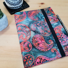 Batik Grey A5 Fabric Journal Cover with Elastic Closure