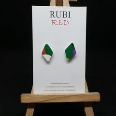 Multi Color Polymer Clay Diamond Studs
