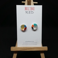 Multi Color Polymer Clay Circle Studs