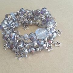 """Silver Starburst"" Stacked Bracelet"