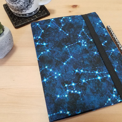 Constellations A5 Fabric Journal Cover with Elastic Closure
