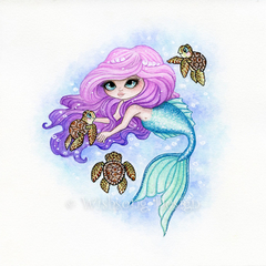 Mermaid painting, whimsical fantasy Original Watercolour Painting 'Untitled'
