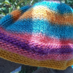 "Knitted beanie ""ridges"". pure wool, rainbow colours for adult or child.  ON SALE"
