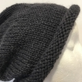 Knitted grey slouchy beanie, mens grey beanie, ladies slouchy grey beanie
