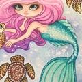 Mermaid painting, whimsical fantasy Original Watercolour Painting 'Untitled'