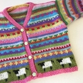 Lilac Flower Cardigan - Size 6-12 months - Hand knitted