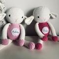 Personalised crochet sheep baby gift