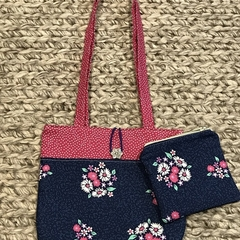 Navy and pink flowers handbag and purse