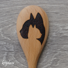 Wood Burnt Cat Wooden Spoon