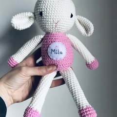 Personalised crochet sheep baby gift