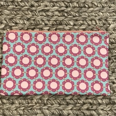 Aqua and pink  flowers pencil case