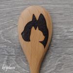Wood Burnt Cat Wooden Spoon