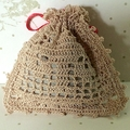 Ecru Hand Crocheted Lavender Bag with Red Embellishments