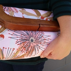 Floral wooden framed clutch