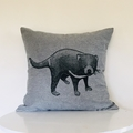 Hand printed Tasmanian devil cushion with feather insert