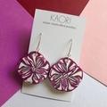 Polymer clay earrings, statement earrings in magenta floral