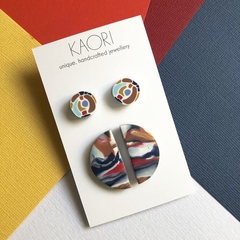 Polymer clay earrings, two pack of stud earrings in blue, red and white