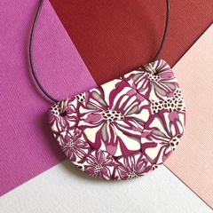 Handcrafted polymer clay adjustable pendant necklace magenta floral