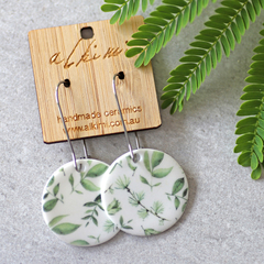 Porcelain Earrings ○ Handmade Sustainable Jewellery ○ Circle ○ Botanical